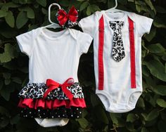 Boy and Girl Twins - Girls Ruffle Onesie Dress and Boys Suspender and Tie (short or long sleeve)