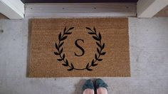 Personalized Doormat | Initial | Initial Doormat | Cute Decor | Welcome Mat | Fun Welcome Mat | Last Name Decor | Personalized Door Mat by WineWhiskersBowtique on Etsy https://www.etsy.com/listing/517838487/personalized-doormat-initial-initial