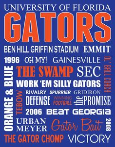 Florida Gators Metal Subway Art Sign by JessPoutreDesigns on Etsy Fla Gators, Florida Gators Baby, Florida Gators Football, Florida Girl, Gator Football, Lsu, Softball, Baseball, Hockey