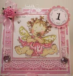 Handmade OOAK Cards by The Hoosier Stamper: Mo Mannings Baby Fairy Pink 1st Birthday Card