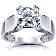 Kobelli 14k White Gold 2ct Cushion-cut Moissanite Solitaire Wide Round-shape Band Tapering Engagement Ring
