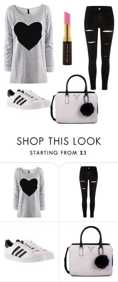 """Untitled #1"" by mujaric ❤ liked on Polyvore featuring River Island, adidas, GUESS and Kevyn Aucoin"