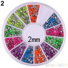 6 Colori 2-3mm Neon Rivetto Rotonda Metallo Della Vite Prigioniera Del Rhinestone Fashion Nail Art Decorazione di DIY 02EF 4BS3