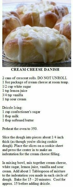 Cream Cheese Danish made with crescent rolls. by terri Cream Cheese Danish made with crescent Köstliche Desserts, Delicious Desserts, Dessert Recipes, Yummy Food, Breakfast Dishes, Breakfast Recipes, Breakfast Ideas, Breakfast Casserole, Breakfast Bake