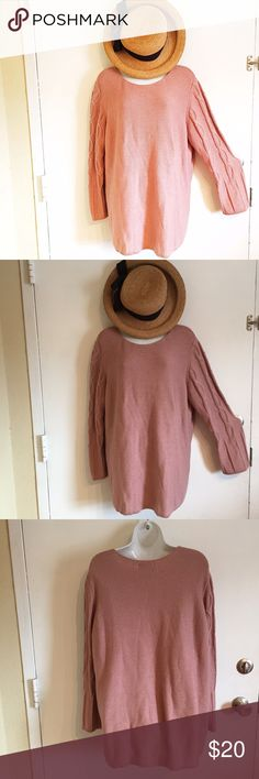 Plus Size Dusty Rose Knit Sweater Plus Size 1x dusty rose colored knit sweater. Has cableknit pattern down the arms. #plus #plussize #dustyrose #dusty #rose #knit #cableknit #sweater #punkydoodle   No modeling  Smoke and pet free home  I do discount bundles Mainstreet Blues Sweaters