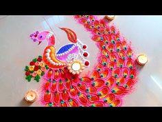 Diwali 2018 SPECIAL Peacock DIYA unique rangoli designs with colours. Try this Easy rangoli designs for Diwali 2018 & lakshmi pada Diwali rangoli desig. Rangoli Designs Peacock, Very Easy Rangoli Designs, Indian Rangoli Designs, Rangoli Designs Latest, Free Hand Rangoli Design, Rangoli Patterns, Small Rangoli Design, Rangoli Border Designs, Rangoli Ideas