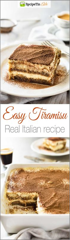 Tiramisu (Chef Easy Tiramisu (with VIDEO) - Authentic Italian recipe, super easy, rich and yet light at 270 cal per serving!Easy Tiramisu (with VIDEO) - Authentic Italian recipe, super easy, rich and yet light at 270 cal per serving! Italian Desserts, Just Desserts, Italian Recipes, Delicious Desserts, Dessert Recipes, Yummy Food, Italian Chef, Appetizer Recipes, Dinner Recipes