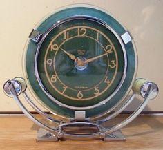 FANTASTIC ART DECO / MODERNIST DESK CLOCK - GREEN GLASS CHROME AND BAKELITE | eBay