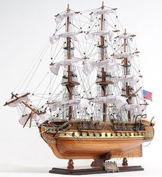 """CaptJimsCargo - USS Constitution 1798 Wooden Model Tall Ship 31"""" Old Ironsides,  (http://www.captjimscargo.com/model-tall-ships/warships/uss-constitution-1798-wooden-model-tall-ship-31-old-ironsides/) Medium sized model, larger & smaller sizes are available."""