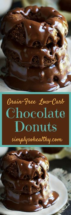 These Grain Free Chocolate Donuts are low-carb and grain-free. They make the chocolaty treat for people on low-carb, gluten-free, ketogenic, Atkins, diabetic, LC/HF, and Banting diets.