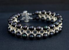 Chainmail sterling silver cuff bracelet