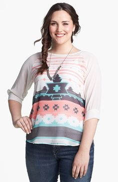Festival ready: Painted Threads Print Tie Back Top (Plus Size Fashion)