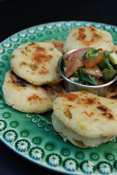 Green chili arepas. These were great served with bean salsa.