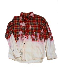 Ombre half bleached Grunge flannel shirt red plaid dip dye ...