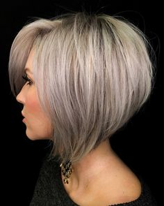 Easy Short Haircuts, Stacked Haircuts, Short Hairstyles For Thick Hair, Haircut For Thick Hair, Short Hair Cuts, Short Hair Styles, Popular Haircuts, Bob Hair Cuts, Trendy Haircuts For Women