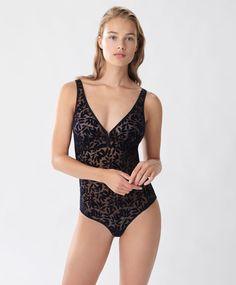 Flocked bodysuit - New In - Autumn Winter 2016 trends in women fashion at Oysho online. Lingerie, pyjamas, sportswear, shoes, accessories, body shapers, beachwear and swimsuits & bikinis.