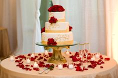 Romantic Wedding Cake, Gold and Red Wedding Cake, Red Roses, Southern Event Planners, Memphis Weddings