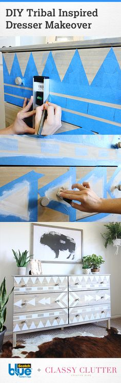 Bring a unique look to your bedroom or nursery by creating this DIY Tribal inspired pattern on a dresser. - Crafts Diy Home Furniture Projects, Furniture Makeover, Home Projects, Diy Furniture, Projects To Try, Ideias Diy, Painted Furniture, Diy Home Decor, Diy And Crafts