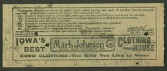 Back of streetcar transfer from Des Moines (Iowa) City Railway (date unknown)