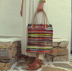Boho Chic Kilim Tote Bag with Jute Rope by maslindabohobags