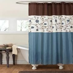 Home Essence Jane Cotton Shower Curtain Blue Bathroom Ideas - Blue and brown shower curtain fabric