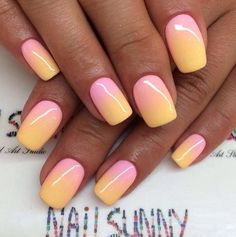 With the spring and summer coming up it's a good time to get in the vibe of some colorful nails. Today I share nails in an ombre theme. Manicure Gel, Manicure Nail Designs, Ombre Nail Designs, Diy Nails, Gel Nail, Nails Design, Design Design, Nail Polish, Cute Acrylic Nails