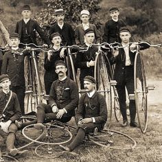 This is a group photo circa 1895 of the members of the High Wheel Bicycle Club together with their machines.