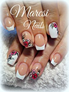 French nail with flower/ French and white nail art