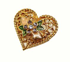 Valentine Heart Brooch - Enamel Floral Design - Signed I LOVE YOU - Costume Jewellery