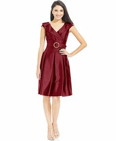 Tahari Dress, Cap-Sleeve Belted Portrait-Collar - Dresses - Women - Macy's