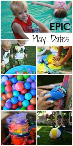 We love hosting messy play dates, especially in the summer when we can get messy and rinse off in the sprinkler! My kids are super so. Date Activities, Sensory Activities, Infant Activities, Summer Activities, Outdoor Activities For Kids, Toddler Play, Play To Learn, Business For Kids, Summer Kids