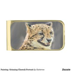 Shop Painting Grinning Cheetah Portrait Gold Finish Money Clip created by Gatterwe. Cute Paintings, Gray Background, Big Cats, Cheetah, Sunglasses Case, It Is Finished, Portrait, Money Clip, Gold