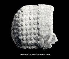 Vintage 1920s Wool Baby Bonnet - Free Crochet Baby Bonnet Pattern