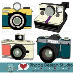Vintage Cameras Digital Clip Art Retro Camera Photography Illustration (color)  maybe for the walls.  Or for some branding... hmmmm