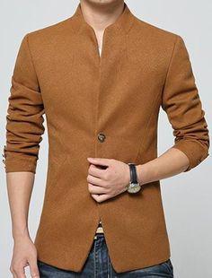 Simple Stand Collar Solid Color Back Slit Slimming Long Sleeves Woolen Blend Coat For Men