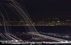 Photographer Terence Chang took these fascinating long exposure photos in the skies above San Francisco International Airport.