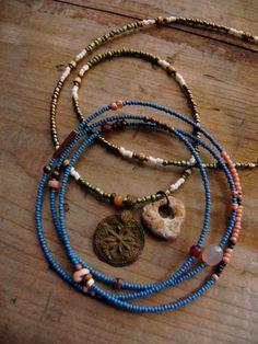 Cythera  gemstone seed bead necklace  bracelet wrap von FlotsamTide