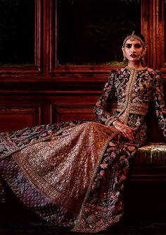 """aashiqaanah: Sabyasachi's Firdaus Collection 2016: Firdaus is the highest garden in paradise, and in Sabyasachi rendition, most of the ingredients in the garden have traveled from as far as Burma, Ghana, and Turkey. Forty-seven artisans and three fine artists worked on the making of a single coat for over 1,600 hours. There were dip-dyed brocades, vegetable-dyed silk floss, velvet couching, brass sequins and more handwork than is visible to the untrained eye."""