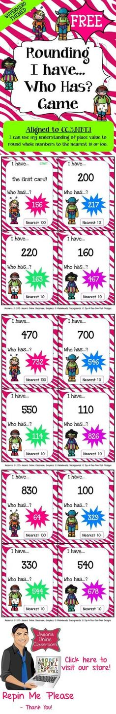FREEBIE - This superhero themed rounding game features 36 game cards to help students apply their knowledge of rounding to the nearest 10 and 100. by guadalupe