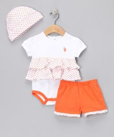 Take a look at this Sun Tang Polka Dot  Bodysuit Set by U.S. Polo Assn. on #zulily today!