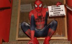 mauro merlino vestito da uomo ragno , Mauro Merlino dresses as the Spider Man in effort to bring smiles to earthquake victims of Italy!