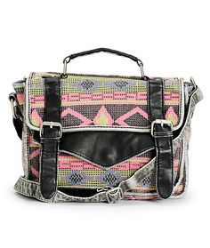 Get a stylish new bag with a woven tribal print blanket exterior and polyurethane leather trim with a crossbody strap and fully lined main compartment with an inner cell phone pocket.