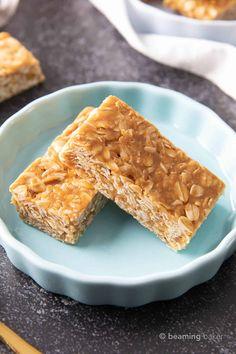 3 Ingredient No Bake Peanut Butter Granola Bars - Beaming Baker - Vegan Granola Peanut Butter Oatmeal Bars, Peanut Butter Snacks, Gluten Free Peanut Butter, Dry Snacks, Healthy Snacks, Healthy Recipes, Healthy Cereal, Protein Snacks, Healthy Breakfasts
