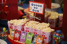 "We made a ""Ready to Pop!"" popcorn station with choose-your-own-flavors!"