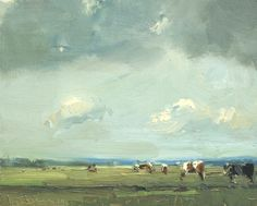 Roos Schuring, LSP15 cows under big sky, Oil on canvas, 24x30 cm, €.900,-