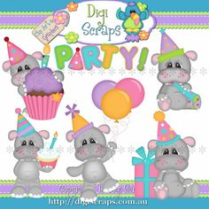 Hippos Birthday Party Clip Art Set  Clipart by Digiscrapsau