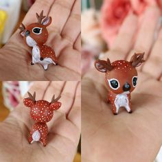 This is a little baby fawn which fits in the palm of your hand. It has been entirely hand sculpted and has carefully painted fluff and details :) It will come glazed and carefully packaged! -This little cutie is approximately 4 x 2.5cm in size! ❤❤❤ Follow me on Instagram for news, updates & follower goodies: http://instagram.com/thelittlemew Have a WONDERFUL day