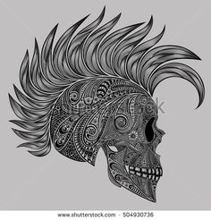 A human skull with a Mohawk patterns