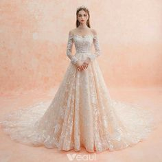 Elegant Champagne Wedding Dresses 2019 A-Line / Princess Off-The-Shoulder Long Sleeve Backless Pierced Appliques Lace Beading Cathedral Train Ruffle - Wedding Outfit Western Wedding Dresses, Dream Wedding Dresses, Bridal Dresses, Wedding Gowns, Bridesmaid Dresses, Prom Dresses, Champagne Wedding Dresses, Wedding Lace, Dresses Dresses