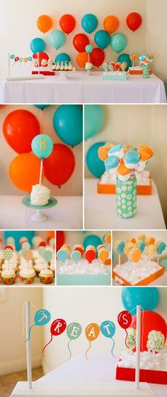 Super cute balloon themed dessert table by Joyful Joyful Designs. All of the desserts are like little balloons. love this color scheme Birthday Balloons, Birthday Fun, First Birthday Parties, Birthday Party Themes, First Birthdays, Balloon Party, Birthday Ideas, Balloon Backdrop, Happy Balloons